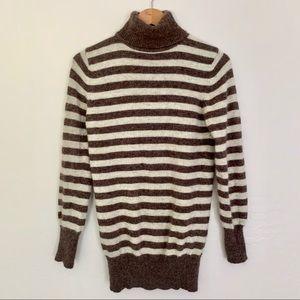 Zara angora turtle neck net striped sweater